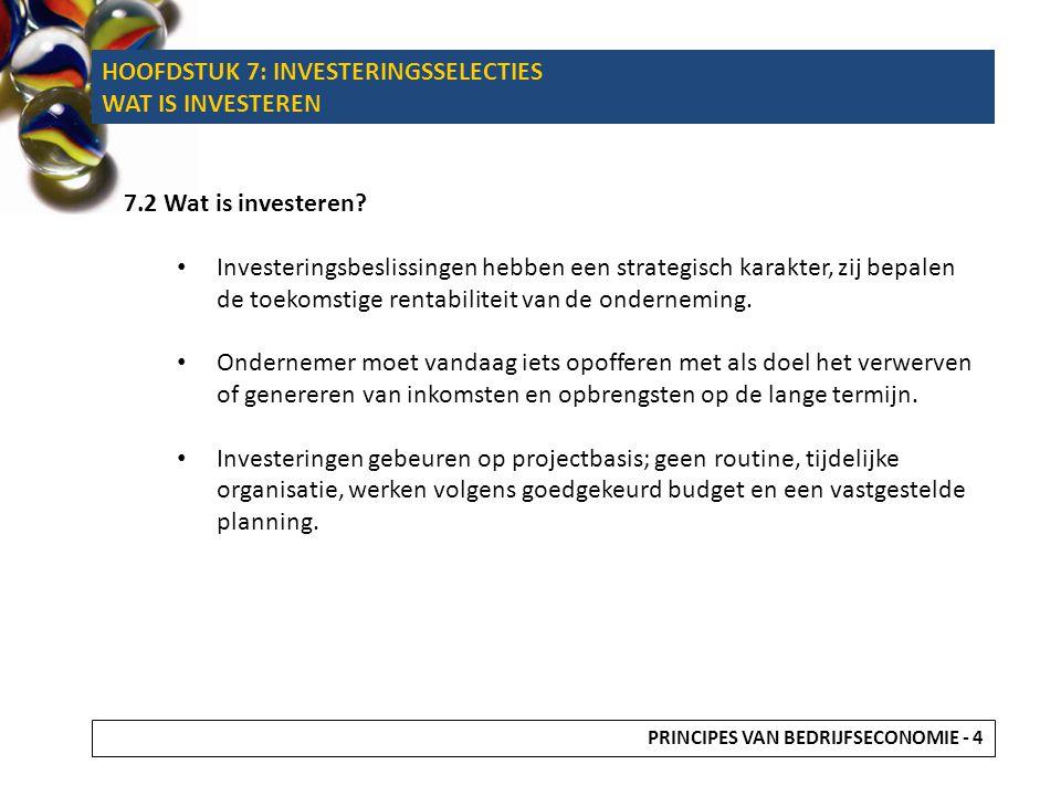 7.2 Wat is investeren? Investeringsbeslissingen hebben een strategisch karakter, zij bepalen de toekomstige rentabiliteit van de onderneming. Ondernem