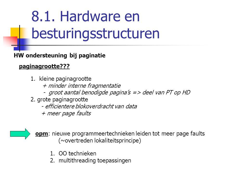 8.1. Hardware en besturingsstructuren HW ondersteuning bij paginatie paginagrootte??? 1.kleine paginagrootte + minder interne fragmentatie - groot aan
