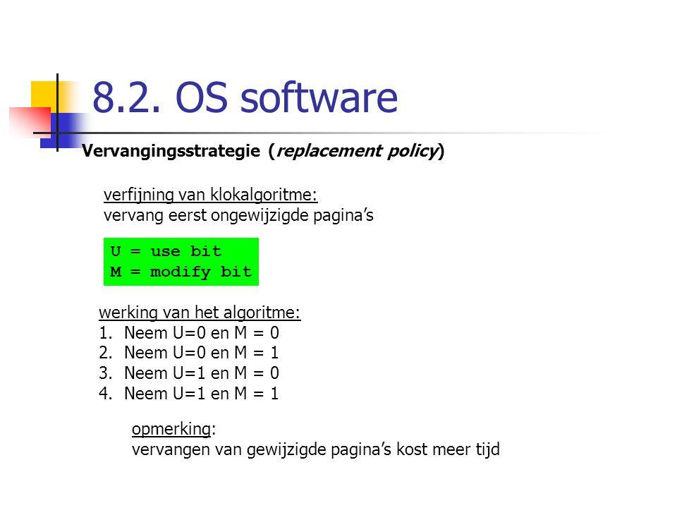 8.2. OS software Vervangingsstrategie (replacement policy) verfijning van klokalgoritme: vervang eerst ongewijzigde pagina's U = use bit M = modify bi