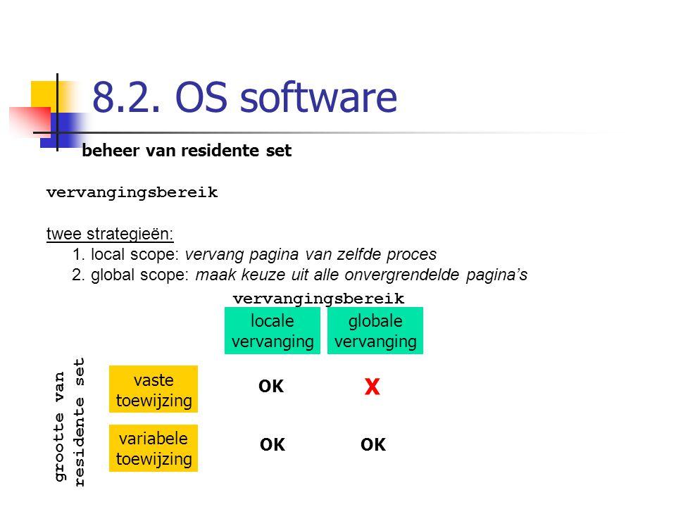 8.2. OS software beheer van residente set vervangingsbereik twee strategieën: 1. local scope: vervang pagina van zelfde proces 2. global scope: maak k