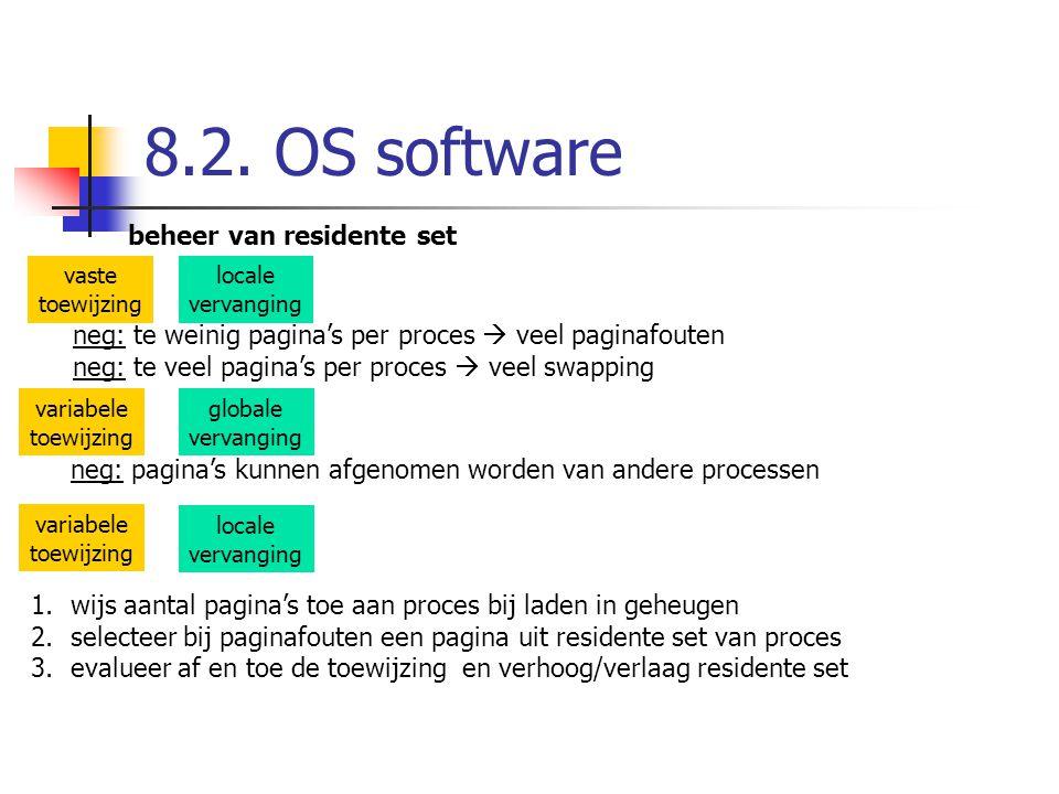 8.2. OS software beheer van residente set vaste toewijzing variabele toewijzing locale vervanging globale vervanging neg: te weinig pagina's per proce