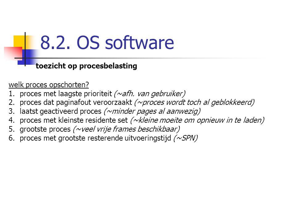 8.2. OS software toezicht op procesbelasting welk proces opschorten? 1.proces met laagste prioriteit (~afh. van gebruiker) 2.proces dat paginafout ver