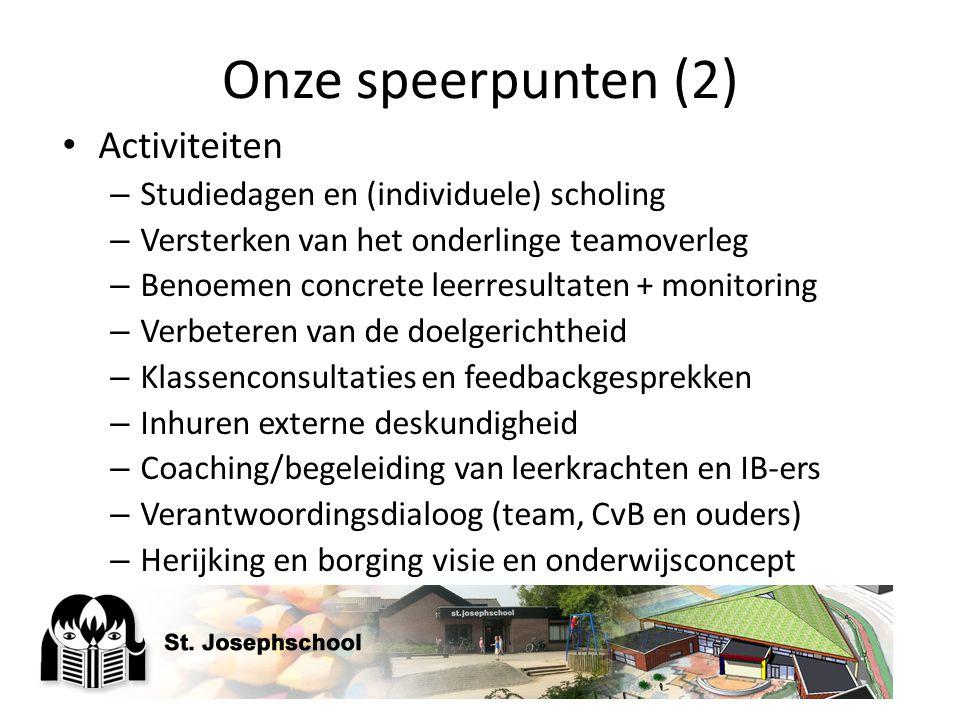 Onze speerpunten (2) Activiteiten – Studiedagen en (individuele) scholing – Versterken van het onderlinge teamoverleg – Benoemen concrete leerresultat