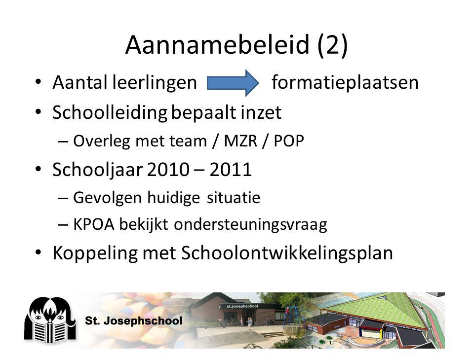 Aannamebeleid (2) Aantal leerlingenformatieplaatsen Schoolleiding bepaalt inzet – Overleg met team / MZR / POP Schooljaar 2010 – 2011 – Gevolgen huidi