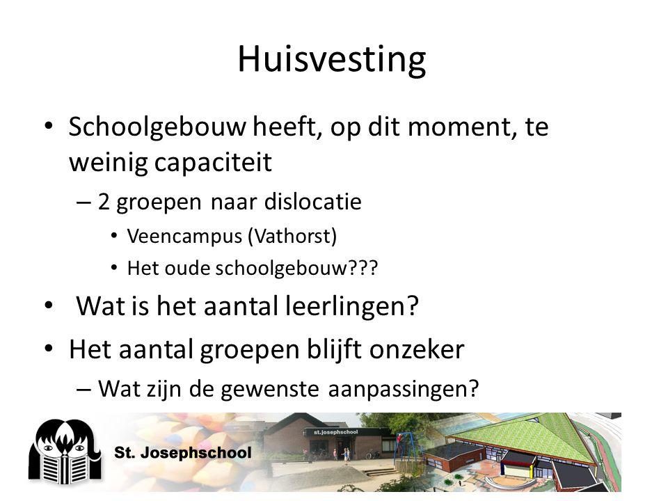 Huisvesting Schoolgebouw heeft, op dit moment, te weinig capaciteit – 2 groepen naar dislocatie Veencampus (Vathorst) Het oude schoolgebouw??? Wat is