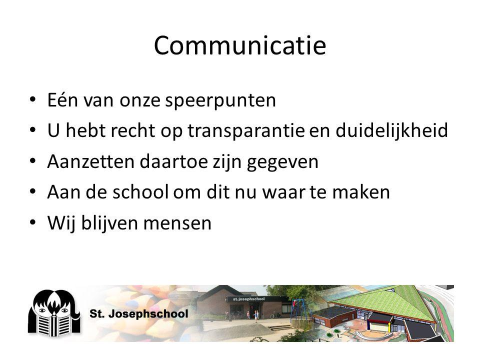 Communicatie Eén van onze speerpunten U hebt recht op transparantie en duidelijkheid Aanzetten daartoe zijn gegeven Aan de school om dit nu waar te ma