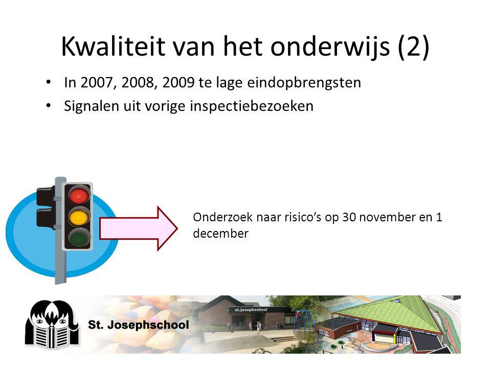 Kwaliteit van het onderwijs (2) In 2007, 2008, 2009 te lage eindopbrengsten Signalen uit vorige inspectiebezoeken Onderzoek naar risico's op 30 novemb