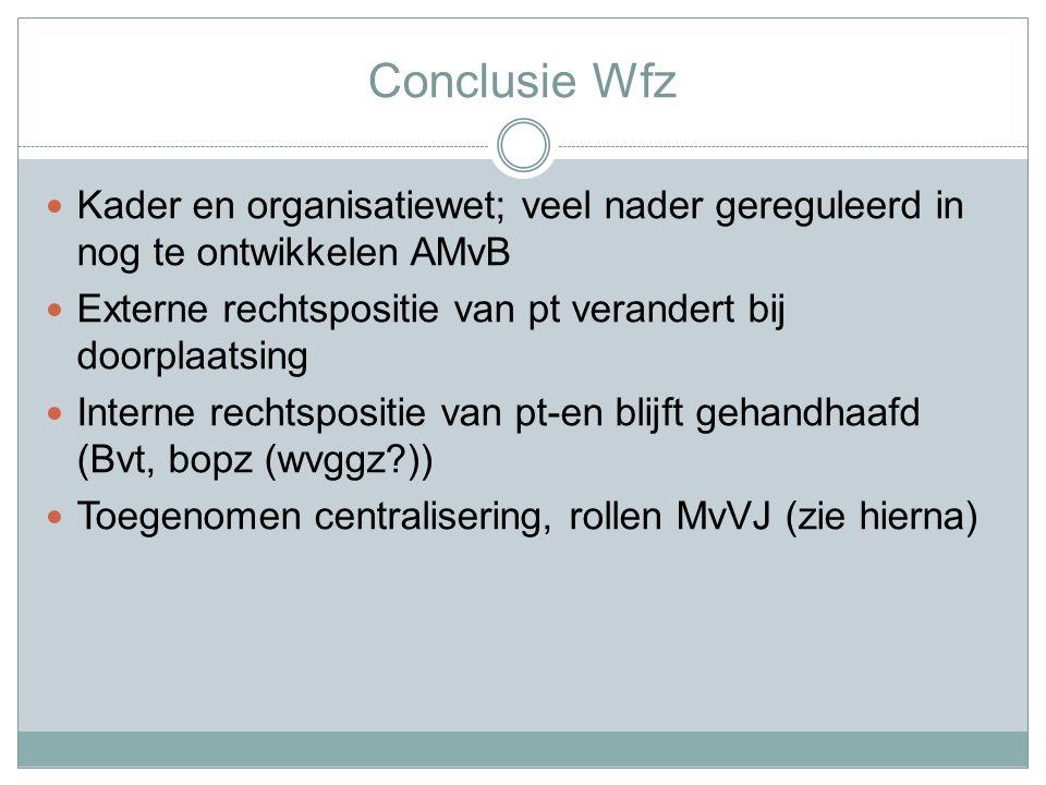 Conclusie Wfz Kader en organisatiewet; veel nader gereguleerd in nog te ontwikkelen AMvB Externe rechtspositie van pt verandert bij doorplaatsing Interne rechtspositie van pt-en blijft gehandhaafd (Bvt, bopz (wvggz?)) Toegenomen centralisering, rollen MvVJ (zie hierna)
