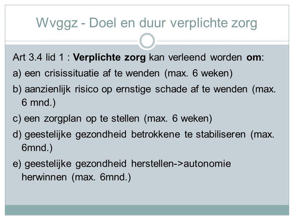 Wvggz - Doel en duur verplichte zorg Art 3.4 lid 1 : Verplichte zorg kan verleend worden om: a) een crisissituatie af te wenden (max.