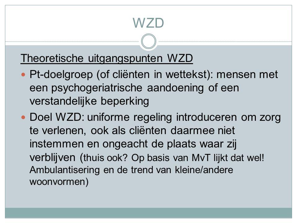 WZD Theoretische uitgangspunten WZD Pt-doelgroep (of cliënten in wettekst): mensen met een psychogeriatrische aandoening of een verstandelijke beperking Doel WZD: uniforme regeling introduceren om zorg te verlenen, ook als cliënten daarmee niet instemmen en ongeacht de plaats waar zij verblijven ( thuis ook.