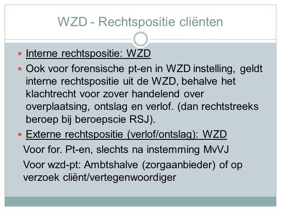 WZD - Rechtspositie cliënten Interne rechtspositie: WZD Ook voor forensische pt-en in WZD instelling, geldt interne rechtspositie uit de WZD, behalve het klachtrecht voor zover handelend over overplaatsing, ontslag en verlof.
