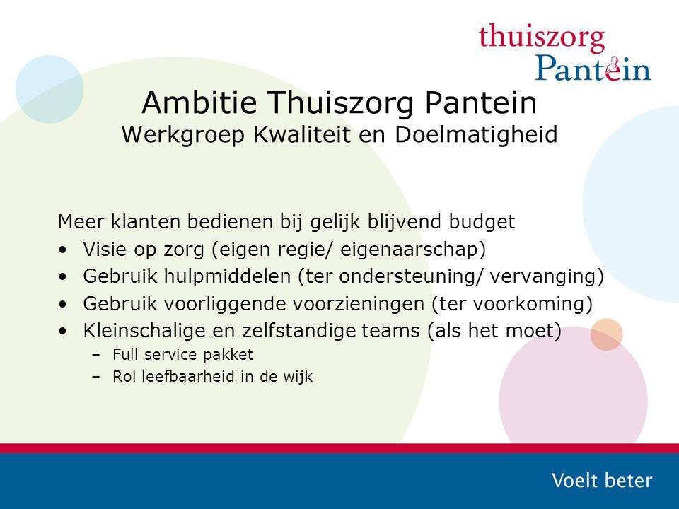 Ambitie Thuiszorg Pantein Werkgroep Kwaliteit en Doelmatigheid Meer klanten bedienen bij gelijk blijvend budget Visie op zorg (eigen regie/ eigenaarsc