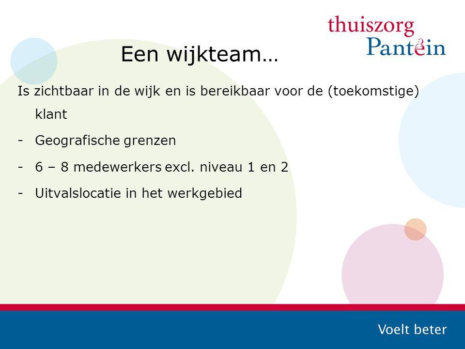 Een wijkteam… Is zichtbaar in de wijk en is bereikbaar voor de (toekomstige) klant -Geografische grenzen -6 – 8 medewerkers excl. niveau 1 en 2 -Uitva