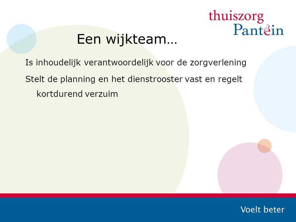 Een wijkteam… Is inhoudelijk verantwoordelijk voor de zorgverlening Stelt de planning en het dienstrooster vast en regelt kortdurend verzuim