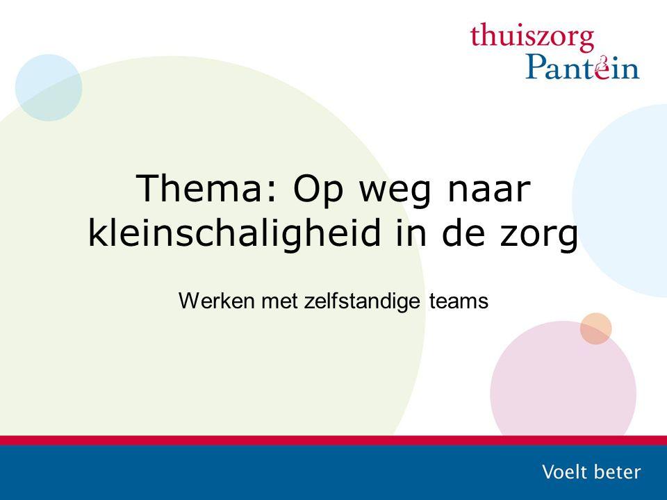 Thema: Op weg naar kleinschaligheid in de zorg Werken met zelfstandige teams