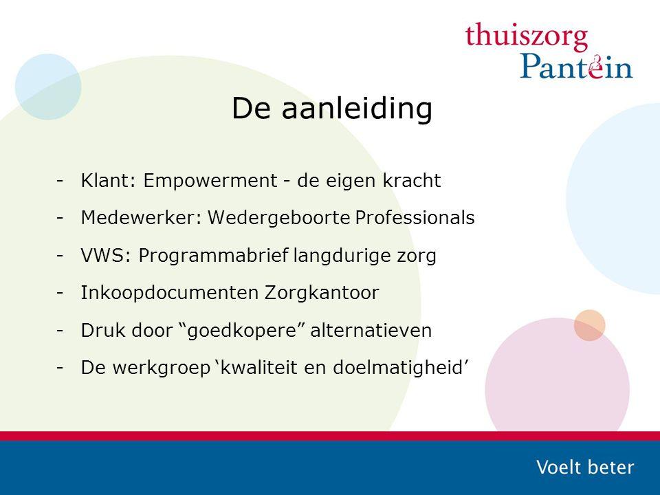 De aanleiding -Klant: Empowerment - de eigen kracht -Medewerker: Wedergeboorte Professionals -VWS: Programmabrief langdurige zorg -Inkoopdocumenten Zo