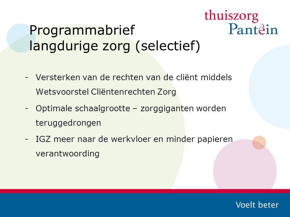 Programmabrief langdurige zorg (selectief) -Versterken van de rechten van de cliënt middels Wetsvoorstel Cliëntenrechten Zorg -Optimale schaalgrootte