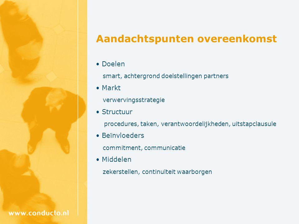 Aandachtspunten overeenkomst Doelen smart, achtergrond doelstellingen partners Markt verwervingsstrategie Structuur procedures, taken, verantwoordelij