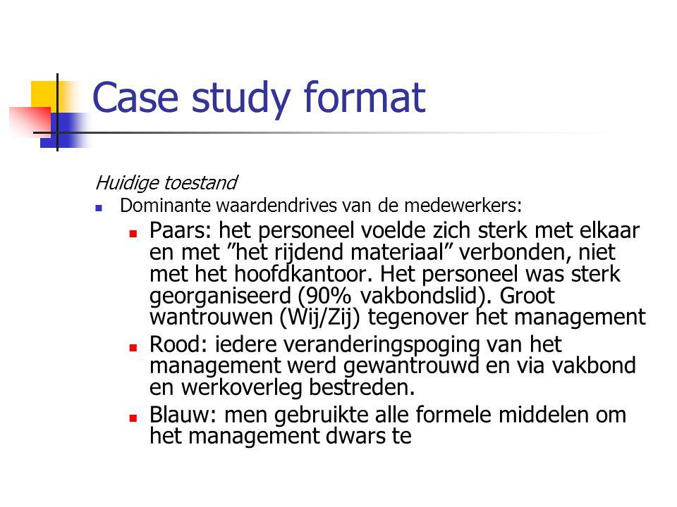 Case study format Huidige toestand Dominante waardendrives van de medewerkers: Paars: het personeel voelde zich sterk met elkaar en met het rijdend materiaal verbonden, niet met het hoofdkantoor.