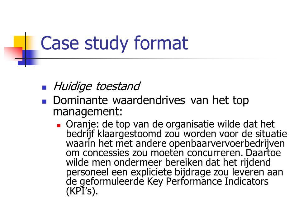 Case study format Huidige toestand Dominante waardendrives van het top management: Oranje: de top van de organisatie wilde dat het bedrijf klaargestoo