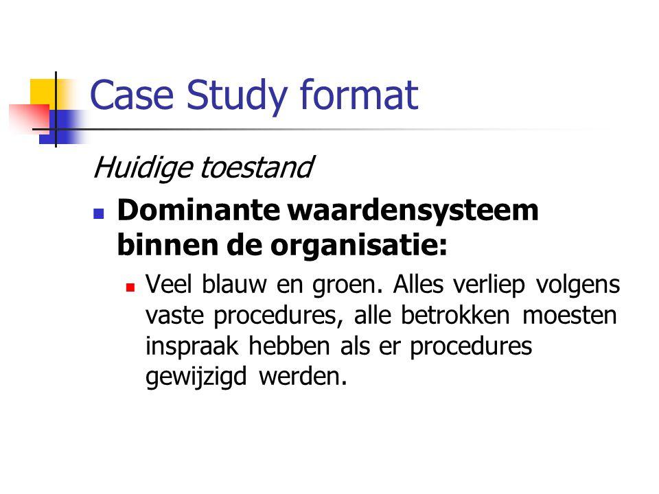 Case Study format Huidige toestand Dominante waardensysteem binnen de organisatie: Veel blauw en groen. Alles verliep volgens vaste procedures, alle b