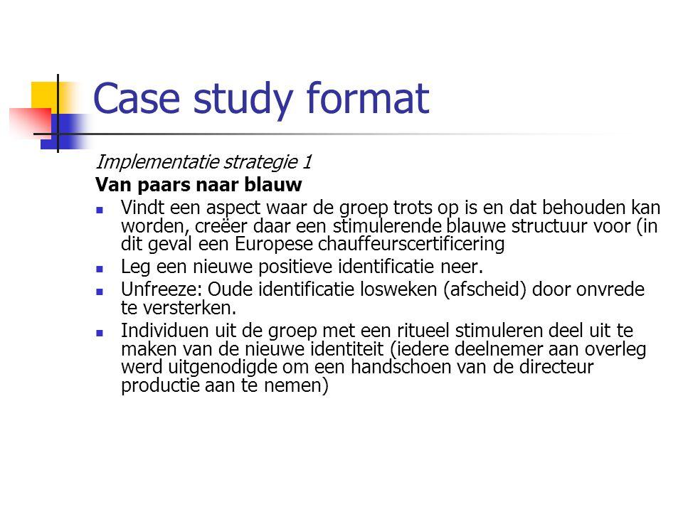 Case study format Implementatie strategie 1 Van paars naar blauw Vindt een aspect waar de groep trots op is en dat behouden kan worden, creëer daar ee