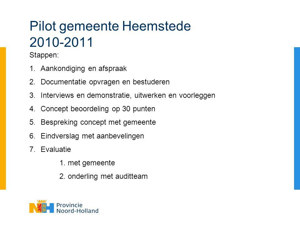 Pilot gemeente Heemstede 2010-2011 Stappen: 1.Aankondiging en afspraak 2.Documentatie opvragen en bestuderen 3.Interviews en demonstratie, uitwerken en voorleggen 4.Concept beoordeling op 30 punten 5.Bespreking concept met gemeente 6.Eindverslag met aanbevelingen 7.Evaluatie 1.