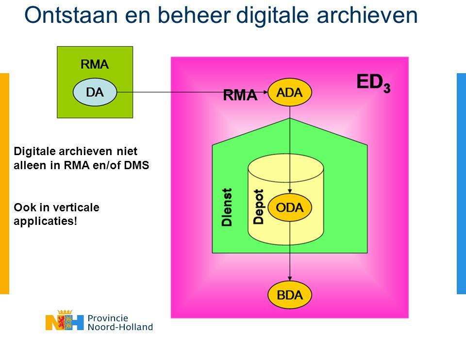 Ontstaan en beheer digitale archieven Digitale archieven niet alleen in RMA en/of DMS Ook in verticale applicaties.