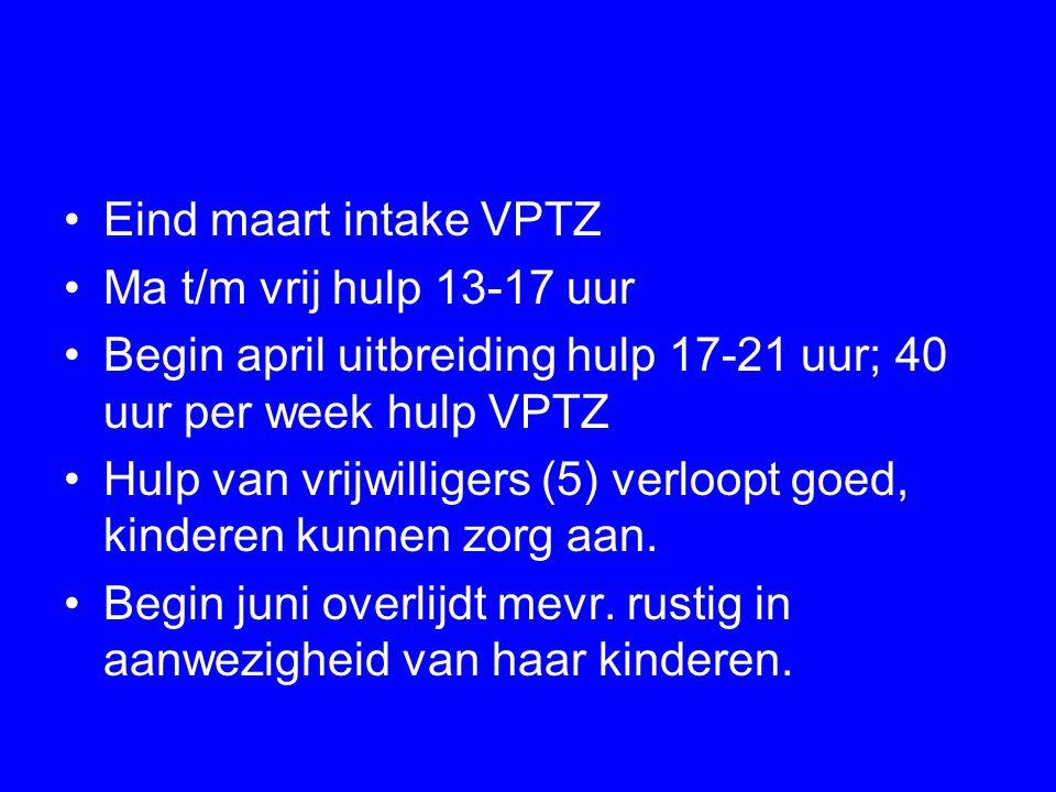 Eind maart intake VPTZ Ma t/m vrij hulp 13-17 uur Begin april uitbreiding hulp 17-21 uur; 40 uur per week hulp VPTZ Hulp van vrijwilligers (5) verloop