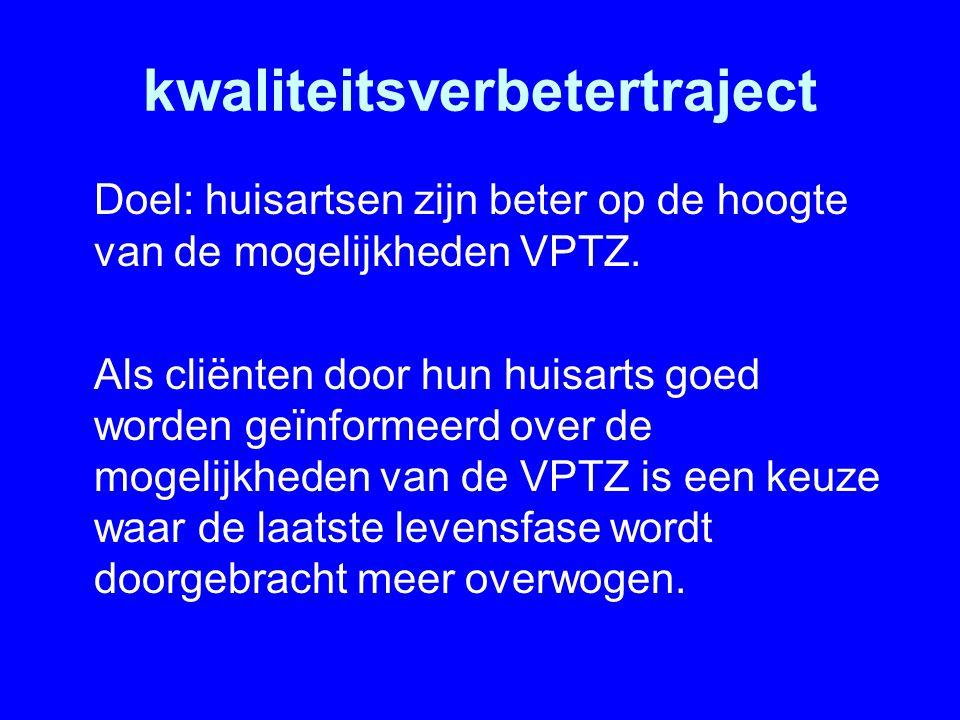 kwaliteitsverbetertraject Doel: huisartsen zijn beter op de hoogte van de mogelijkheden VPTZ. Als cliënten door hun huisarts goed worden geïnformeerd