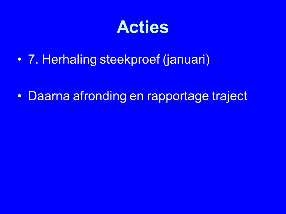 Acties 7. Herhaling steekproef (januari) Daarna afronding en rapportage traject