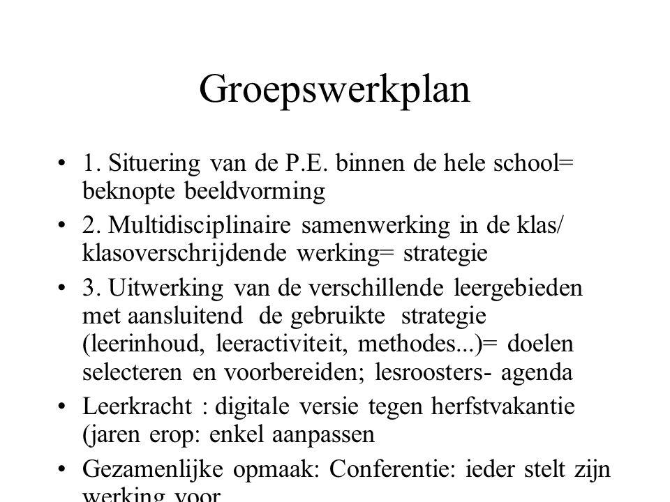 Groepswerkplan 1. Situering van de P.E. binnen de hele school= beknopte beeldvorming 2. Multidisciplinaire samenwerking in de klas/ klasoverschrijdend