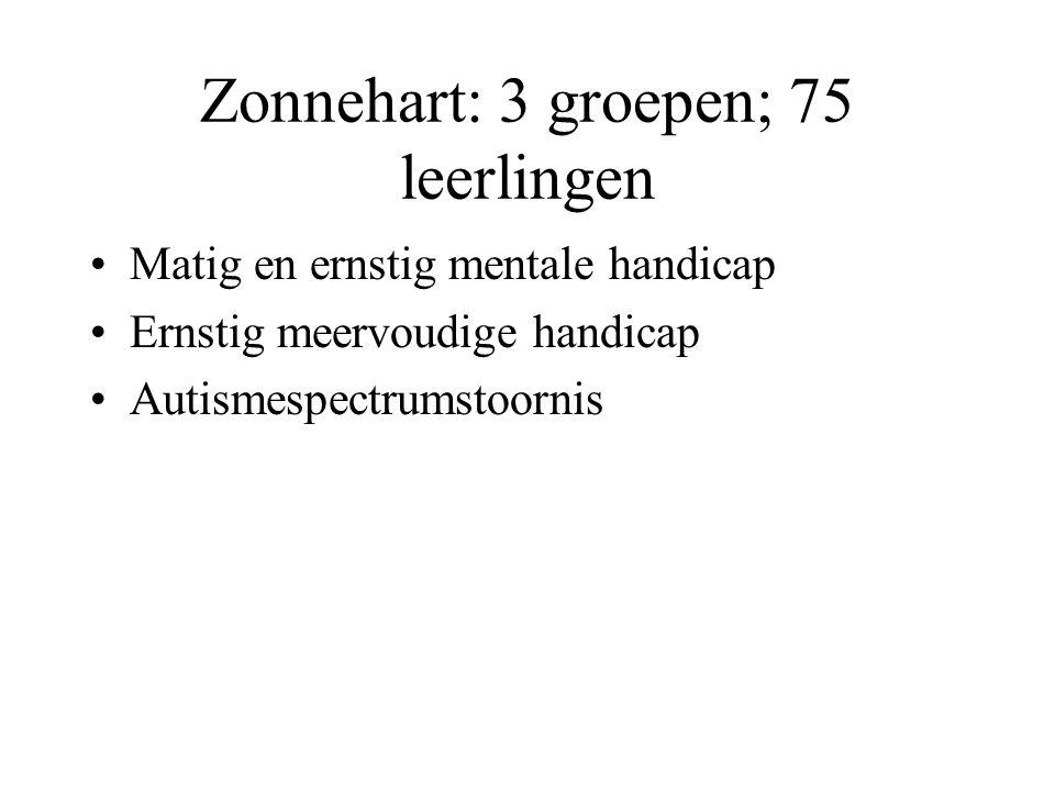 Zonnehart: 3 groepen; 75 leerlingen Matig en ernstig mentale handicap Ernstig meervoudige handicap Autismespectrumstoornis