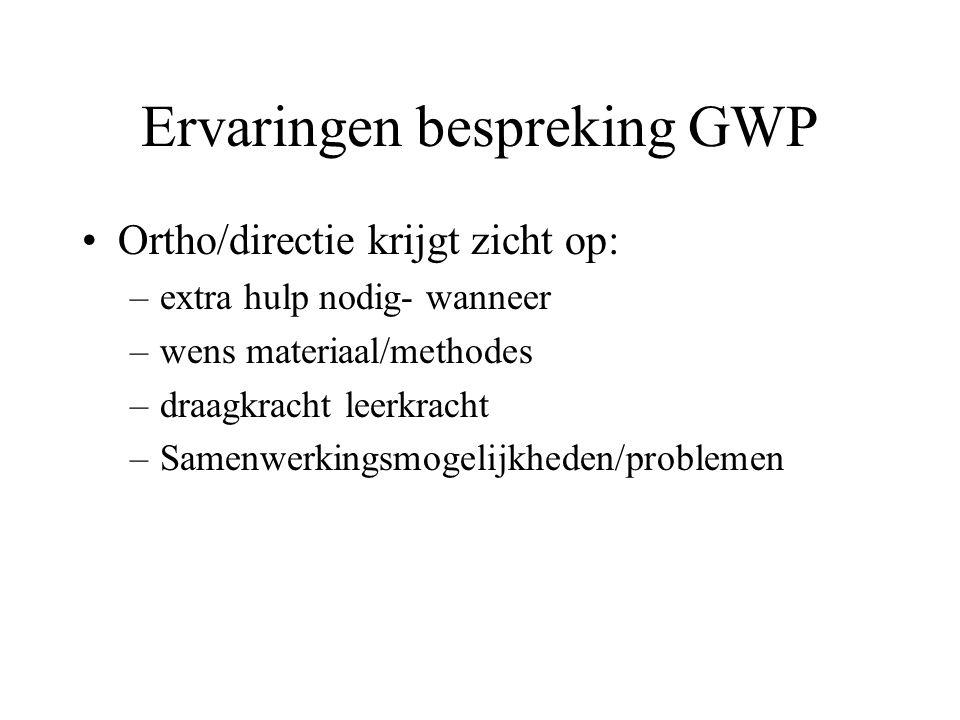 Ervaringen bespreking GWP Ortho/directie krijgt zicht op: –extra hulp nodig- wanneer –wens materiaal/methodes –draagkracht leerkracht –Samenwerkingsmo