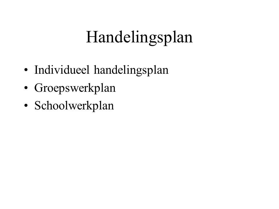 Handelingsplan Individueel handelingsplan Groepswerkplan Schoolwerkplan