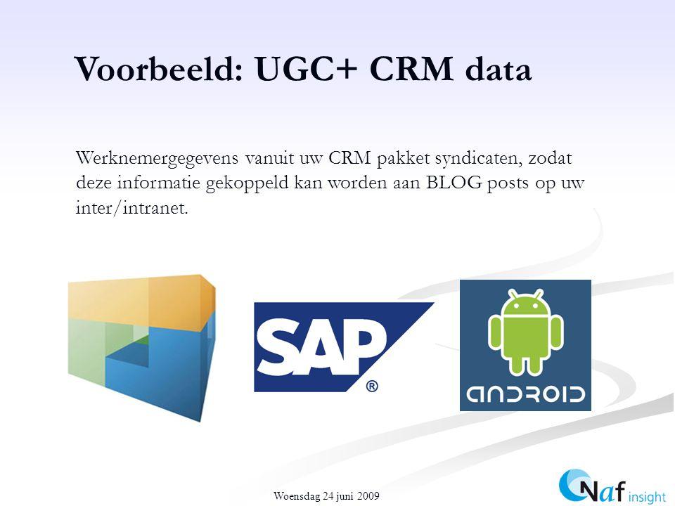 Woensdag 24 juni 2009 Voorbeeld: UGC+ CRM data Werknemergegevens vanuit uw CRM pakket syndicaten, zodat deze informatie gekoppeld kan worden aan BLOG posts op uw inter/intranet.