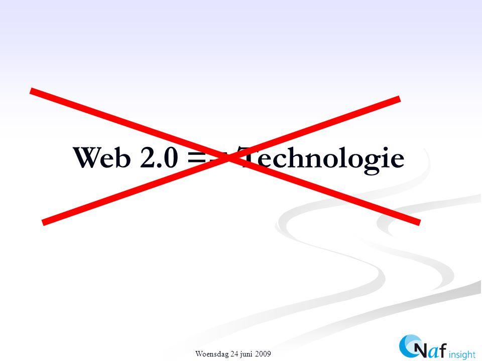 Woensdag 24 juni 2009 Web 2.0 == Technologie