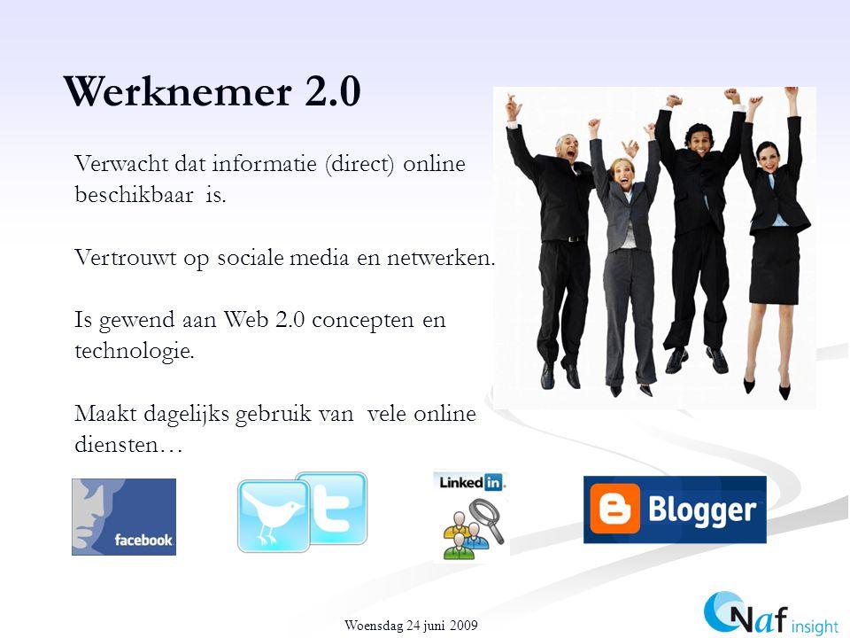 Werknemer 2.0 Verwacht dat informatie (direct) online beschikbaar is.