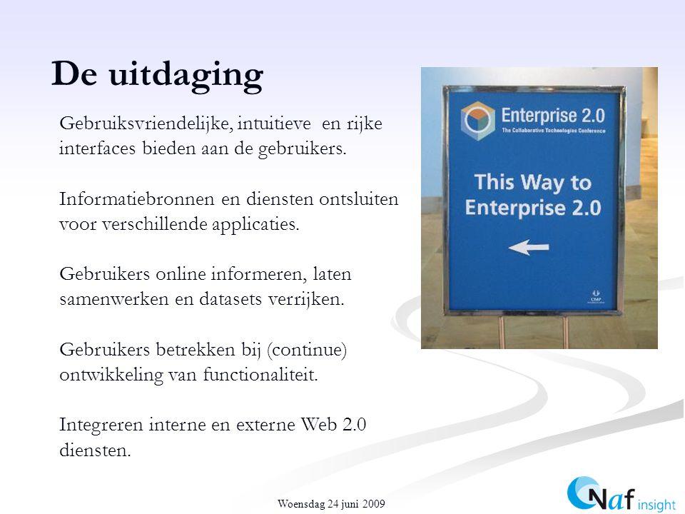 Woensdag 24 juni 2009 De uitdaging Gebruiksvriendelijke, intuitieve en rijke interfaces bieden aan de gebruikers.