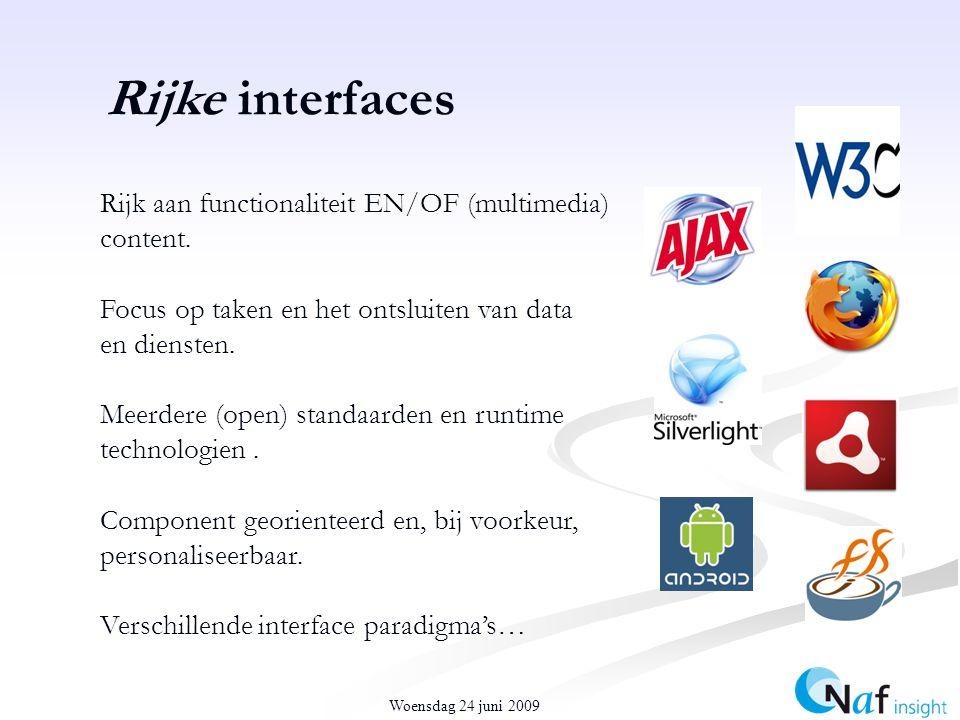 Woensdag 24 juni 2009 Rijke interfaces