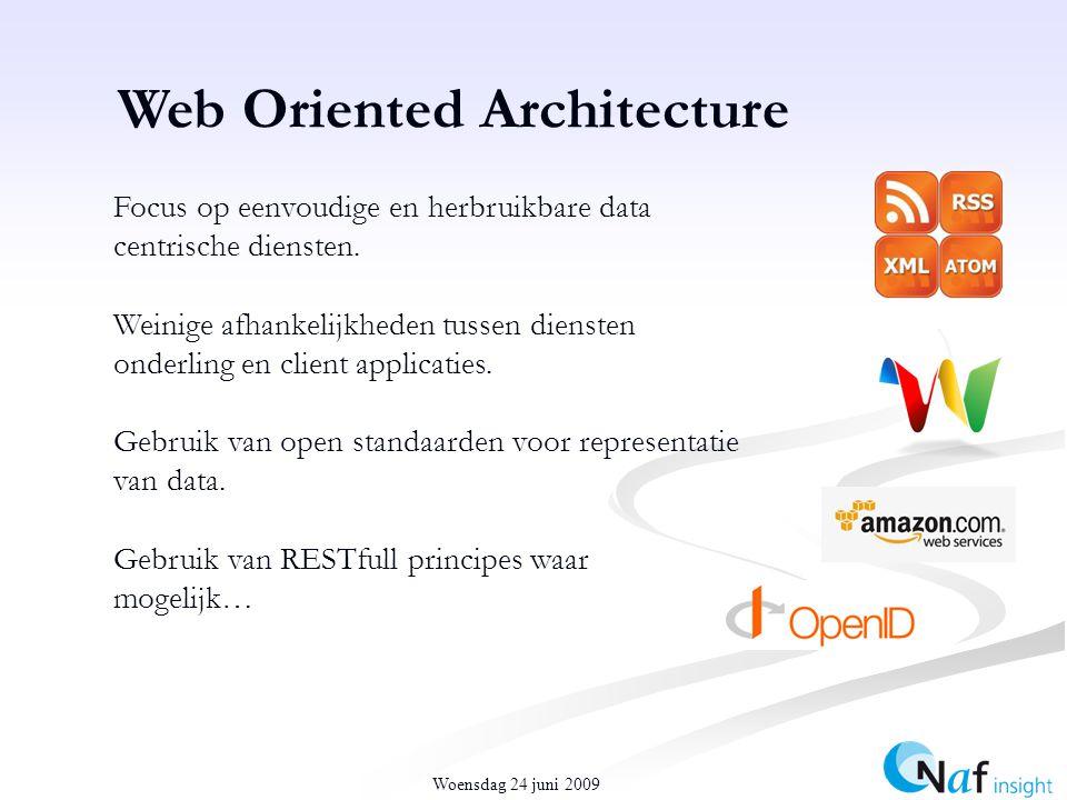 Woensdag 24 juni 2009 Web Oriented Architecture Focus op eenvoudige en herbruikbare data centrische diensten.
