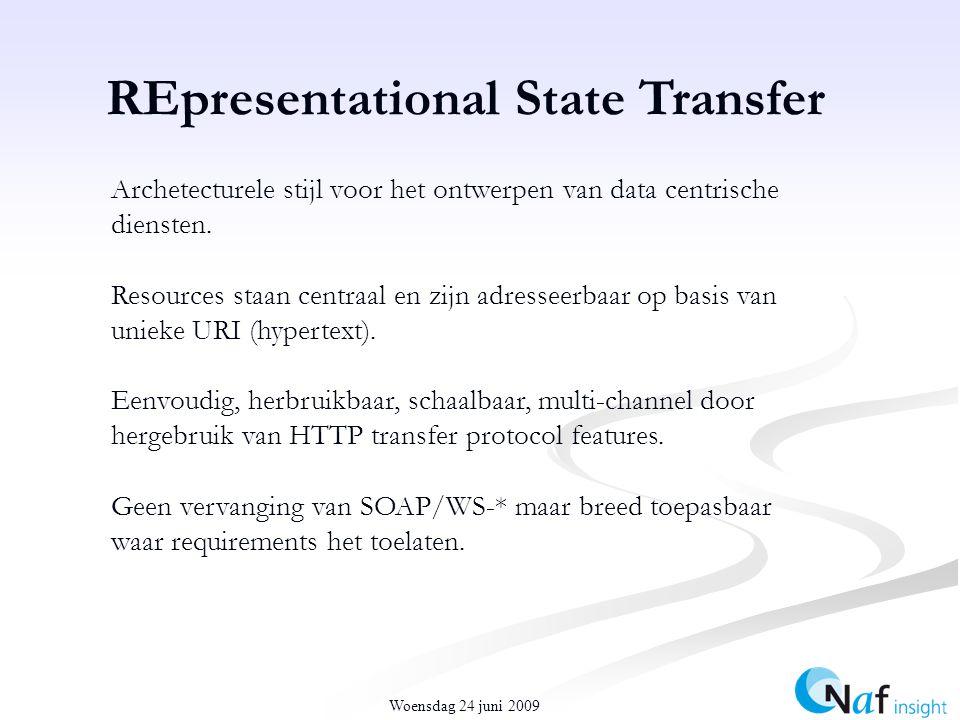 Woensdag 24 juni 2009 REpresentational State Transfer Archetecturele stijl voor het ontwerpen van data centrische diensten.