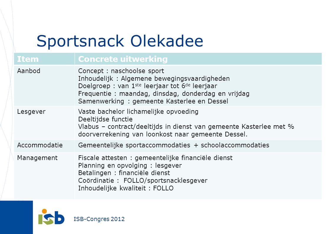 ISB-Congres 2012 Sportsnack Olekadee ItemConcrete uitwerking AanbodConcept : naschoolse sport Inhoudelijk : Algemene bewegingsvaardigheden Doelgroep :