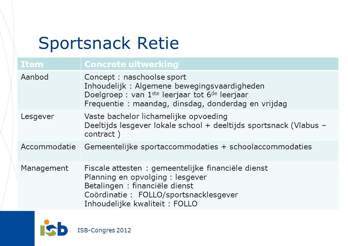 ISB-Congres 2012 Sportsnack Retie ItemConcrete uitwerking AanbodConcept : naschoolse sport Inhoudelijk : Algemene bewegingsvaardigheden Doelgroep : va