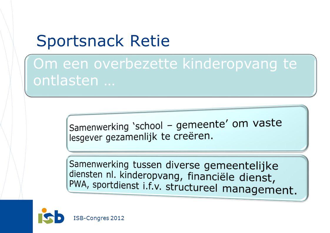 ISB-Congres 2012 Sportsnack Retie Om een overbezette kinderopvang te ontlasten …
