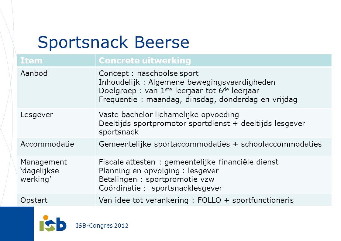 ISB-Congres 2012 Sportsnack Beerse ItemConcrete uitwerking AanbodConcept : naschoolse sport Inhoudelijk : Algemene bewegingsvaardigheden Doelgroep : v