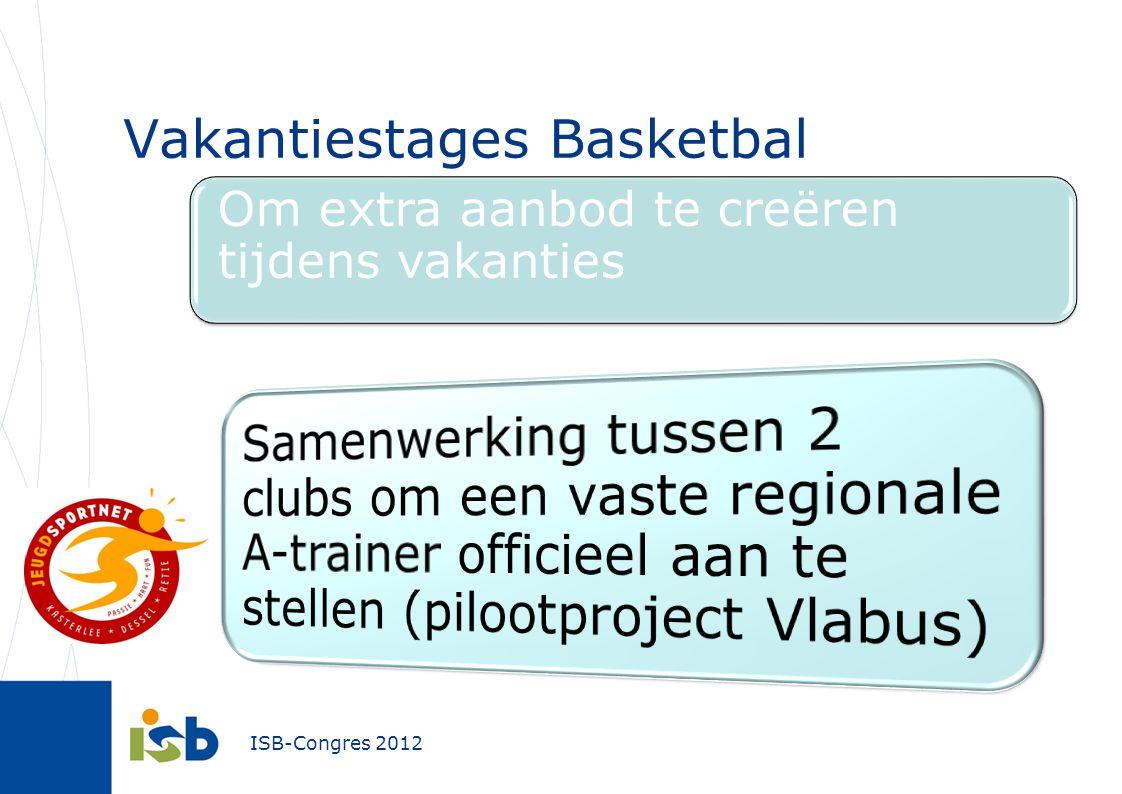 ISB-Congres 2012 Vakantiestages Basketbal Om extra aanbod te creëren tijdens vakanties