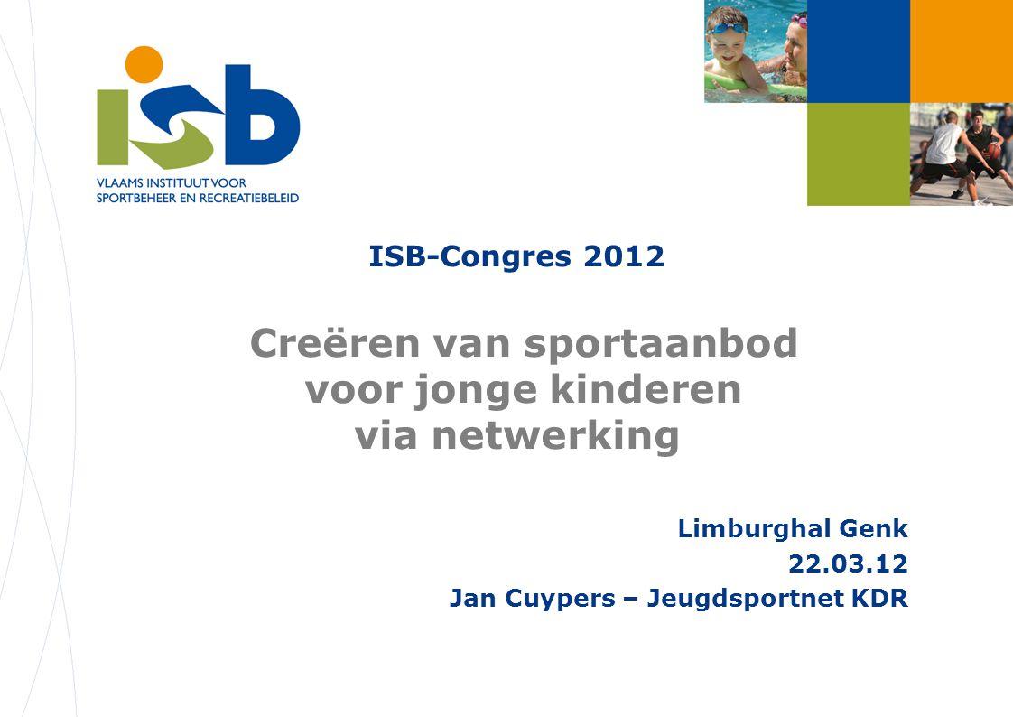 ISB-Congres 2012 G –Judo Vakantiestages Jeugdsport net KDR Trainer G- coördinator Deelnemers Ouders Clubs (4) Provincie A'pen