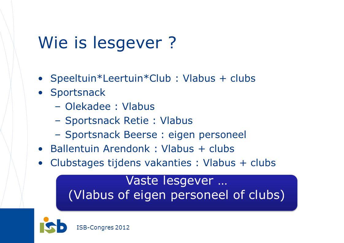 Wie is lesgever ? Speeltuin*Leertuin*Club : Vlabus + clubs Sportsnack –Olekadee : Vlabus –Sportsnack Retie : Vlabus –Sportsnack Beerse : eigen persone