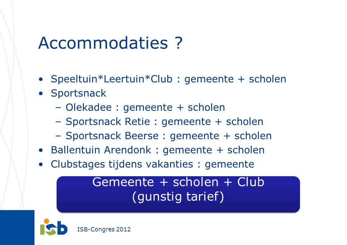 ISB-Congres 2012 Accommodaties ? Speeltuin*Leertuin*Club : gemeente + scholen Sportsnack –Olekadee : gemeente + scholen –Sportsnack Retie : gemeente +